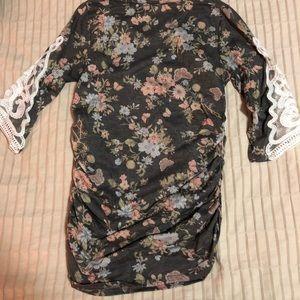 4353fd7cbfad3 Pinkblush Tops   Charcoal Floral Crochet Sleeve Maternity Top   Poshmark